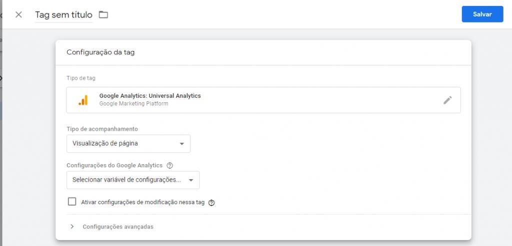 Configurar o Google Tag Manager.